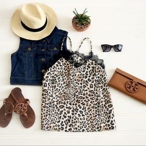 Tops - Cheetah tank with black lace